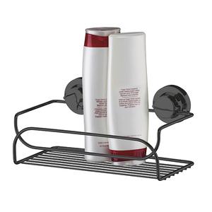 Porta Shampoo Reto Simples Ventosa Metal Ônix  8x25x14cm Future