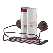 Porta Shampoo Reto Simples Ventosa Metal Bronze  8x25x14cm Future