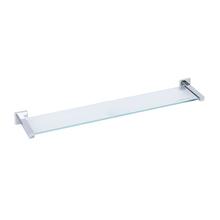Porta Shampoo Reto Simples Parafuso Metal e Vidro Prata  e  Incolor 0,4x60,8x11,7cm Quaddra Sensea