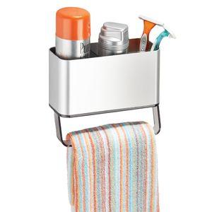 Porta Shampoo Reto Simples Adesivo Metal Prata Peel-and-Stick Interdesign