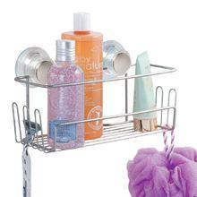 Porta Shampoo Reto Simples Ventosa Metal Prata Turn-N-Lock Interdesign