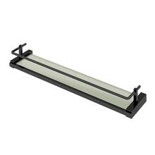 Porta Shampoo Reto Simples Parafuso Vidro e Metal Preto 7,2x15x67cm Quartzo BL140 Fani