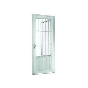 Porta social de abrir 217x88x8 cm Direito Natural acetinado em Aluminium Sasazaki