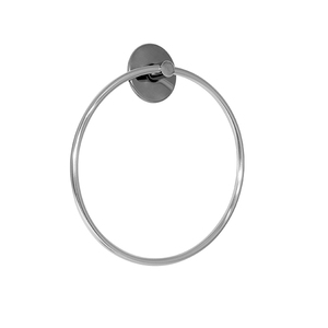 Porta Toalha Rosto Metal Argola Silver Japi