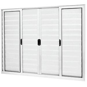 Porta Veneziana Alumínio Branco 100 cmx200 cm 6 Folhas Atlântica