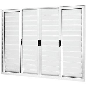 Porta Veneziana Alumínio Branco 120 cmx200 cm 6 Folhas Atlântica