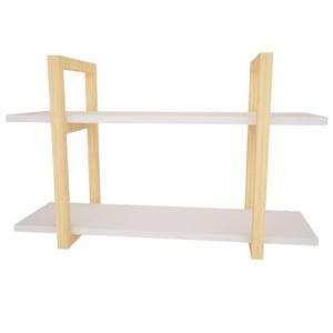 Prateleira Borda Reta dupla Branco 65x40x26cm Wood
