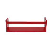 Prateleira Borda Reta Suporte Embutido Box Madeira Vermelho 45x10x1,5cm Spaceo