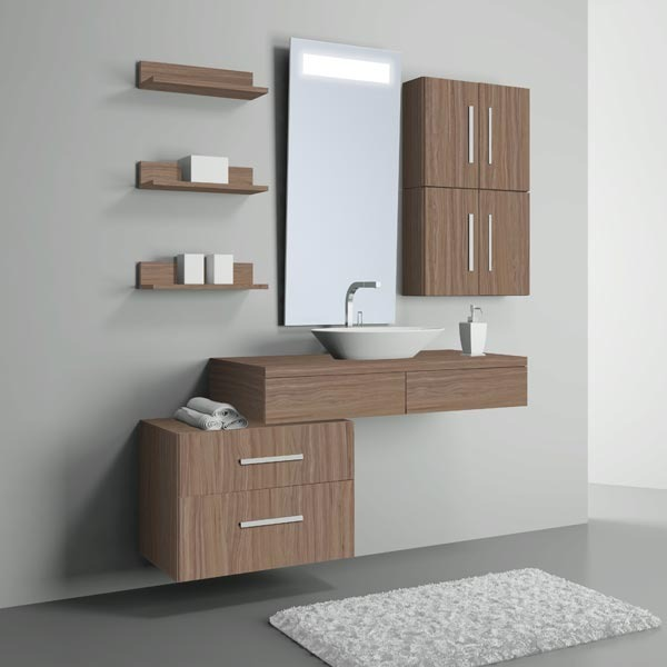 Prateleira de banheiro mdf bp noce 40x14 50x9cm multiuso for Mobiletti multiuso leroy merlin