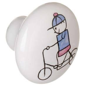 Puxador de Porcelana Menino de bicicleta 1 furo A053 Italy Line