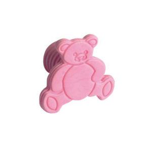 Puxador Infantil de Plástico Urso Rosa Zamar