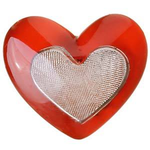 Puxador Infantil de Resina Coração Vermelho 1 furo 3334 Chiquita Bacana