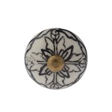Puxador para Móveis Cerâmica Branco Preto 30mm
