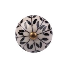 Puxador para Móveis Cerâmica Branco Preto 40mm