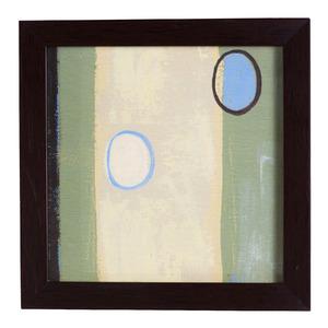 Quadro Abstrato Bege e Azul com Moldura Imbuia 17x17cm