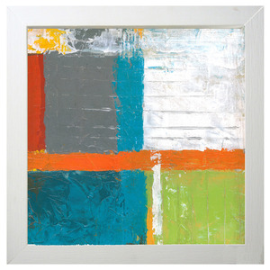 Quadro Abstrato Colorido com Moldura Branca 30x30cm