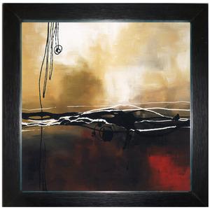 Quadro Abstrato Marrom com Moldura Preta 32x32cm