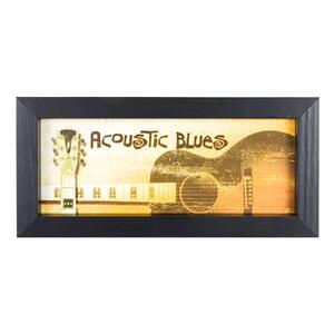Quadro Acoustic Blues Bege com Moldura Preta 10x25cm