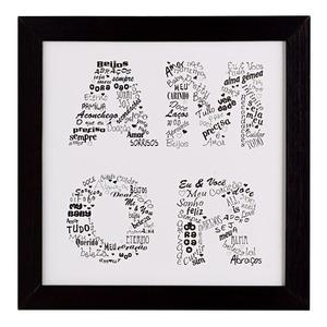 Quadro Amor Preto e Branco com Moldura Preta 23x23cm