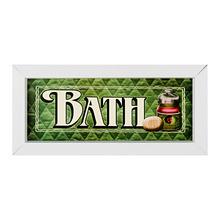 Quadro Bath Verde com Moldura Branca 10x25cm
