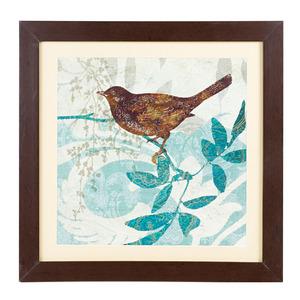 Quadro Bird Marrom e Azul com Moldura Imbuia 42x42cm