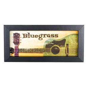 Quadro Bluegrass Bege e Verde com Moldura Preta 10x25cm