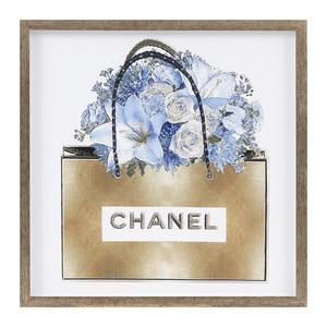 Quadro Bolsa Chanel Strass Azul 52x52cm Inspire