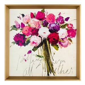 Quadro Bouquet Aquarela Branco e Rosa com Moldura Dourada 20x20cm