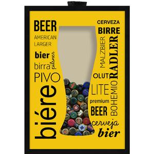 Quadro Cerveja Porta Tampinhas 29x39cm