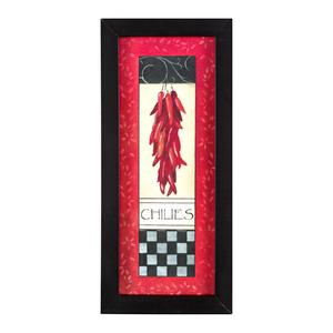 Quadro Chilies Preto e Vermelho com Moldura Preta 29x14cm