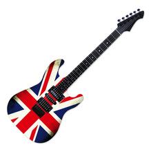 Quadro de Aviso Guitarra Reino Unido Colorido 32x94cm