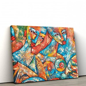 quadro decorativo em tela canvas abstrato shaped people