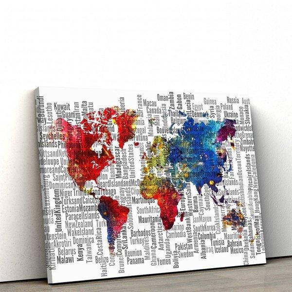 Quadro Decorativo Em Tela Canvas Mapa Mundi Mosaico 60x90cm