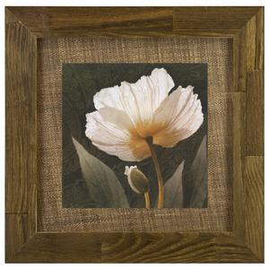 Quadro Flor Bege com Moldura Rústica 42x42cm