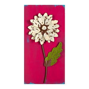Quadro Flor Rosa e Branco 31x15cm