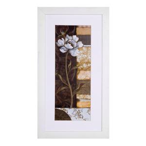 Quadro Floral Bege com Moldura Branca 34x19cm