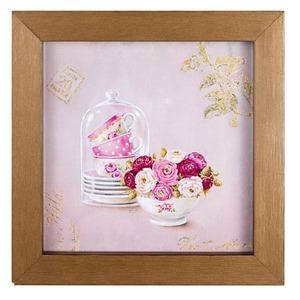 Quadro Floral Branco e Rosa com Moldura Tabaco 20x20cm