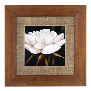 Quadro Floral Marrom e Bege com Moldura Tabaco 54x54cm