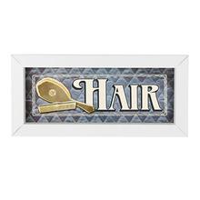Quadro Hair Azul com Moldura Branca 10x25cm
