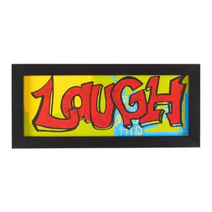 Quadro Laugh Colorido com Moldura Preta 14x29cm