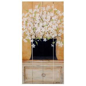 Quadro Madeira Flores Brancas 40x20cm Importado