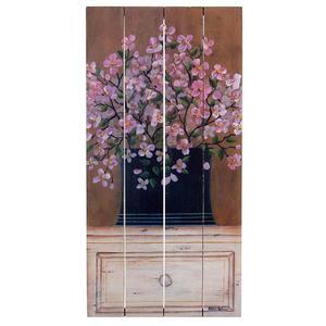 Quadro Madeira Flores Rosas 40x20cm Importado