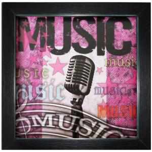 Quadro Music Rosa com Moldura Preta 30x30cm