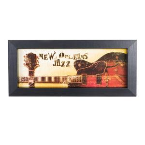 Quadro New Orleans Jazz com Moldura Preta 10x25cm