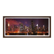 Quadro New York Colorido com Moldura Tabaco 73x33cm