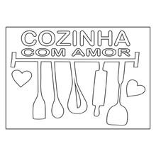Quadro para Pintar Frase Cozinha com Amor 30x42cm