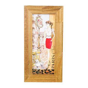 Quadro Paris Chic Marrom e Bege com Moldura Tabaco 28x13cm