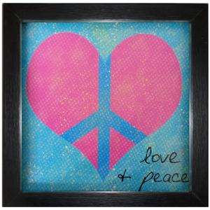 Quadro Peace and Love Azul e Rosa com Moldura Preta 30x30cm