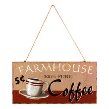 Quadro Placa Farmhouse Coffee Marrom 15x35,5cm