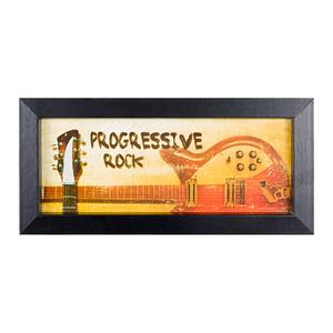Quadro Progressive Rock Bege e Vermelho com Moldura Preta 10x25cm